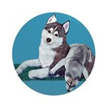 Siberian Husky and Puppy Ornament (Round)