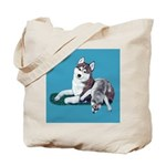 Siberian Husky and Puppy Tote Bag
