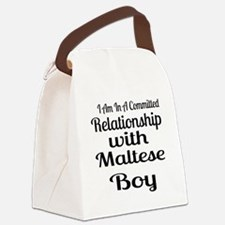 I Am In Relationship With Maltese Canvas Lunch Bag