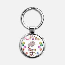 hippo Round Keychain