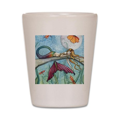 down by the pond horizontal Shot Glass