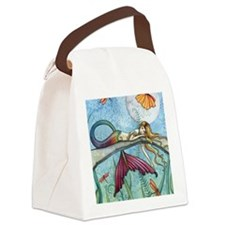 down by the pond horizontal Canvas Lunch Bag