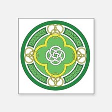 "---with rings green white g Square Sticker 3"" x 3"""