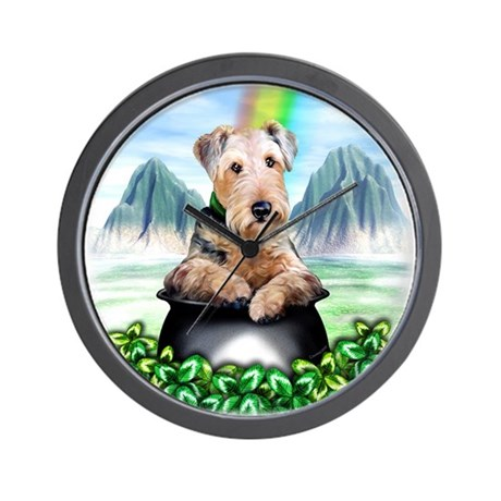 Airedale Pot-O-Gold Wall Clock