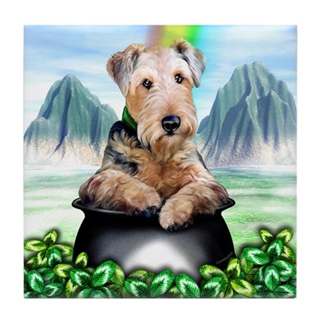 Airedale Pot-O-Gold Tile Coaster