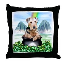 Airedale Pot-O-Gold Throw Pillow