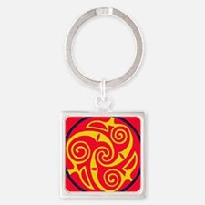 ---red yellow Square Keychain