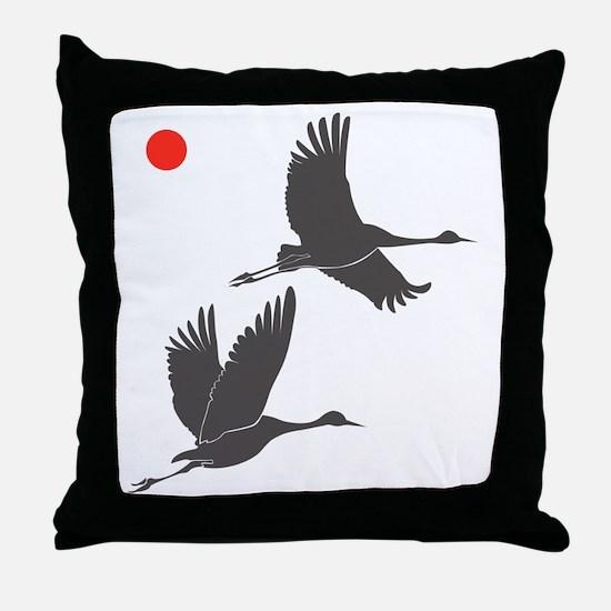 Soaring Cranes Throw Pillow