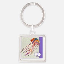 J is for Jellyfish Square Keychain