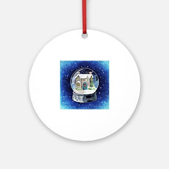 Cute Snow globe Round Ornament