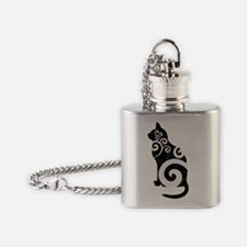 Swirly Cat Black Flask Necklace
