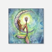 "mermaid moon square Square Sticker 3"" x 3"""