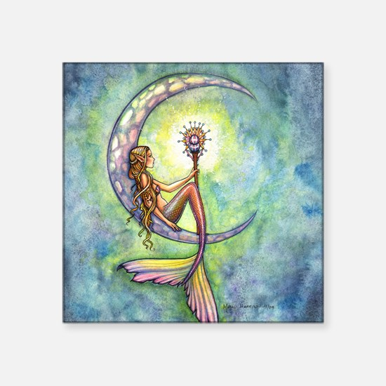 "mermaid moon square Square Sticker 3"" x 3"""