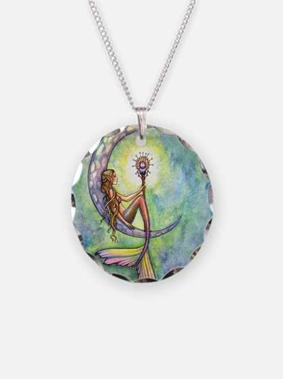 mermaid moon square Necklace Circle Charm