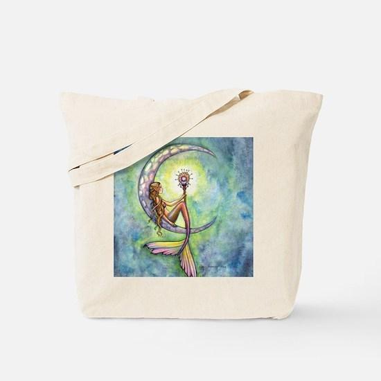 mermaid moon square Tote Bag
