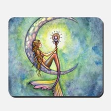 mermaid moon square Mousepad