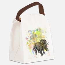 Triceratops Dino in Splash of Col Canvas Lunch Bag