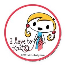 love to knit ornament Round Car Magnet