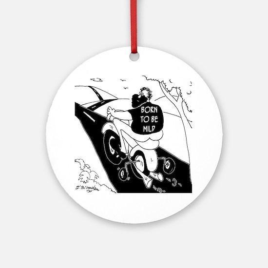 6972_motorcycle_cartoon Round Ornament