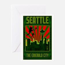 Seattle_The_Emerald_City_23x35_print Greeting Card