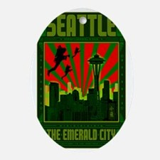 Seattle_The_Emerald_City_23x35_print Oval Ornament