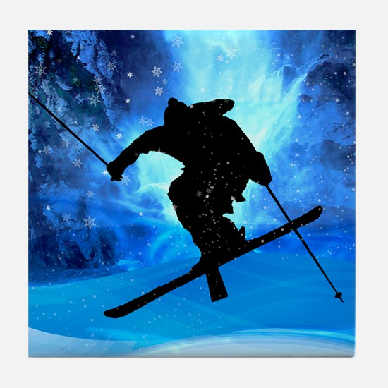 Winter Landscape and Freestyle Skier Tile Coaster