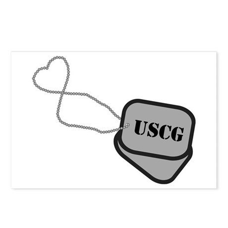 USCG Heart Dog Tags Postcards (Package of 8)
