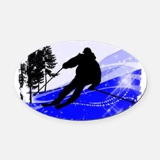 Downhill on the Ski Slope Edges Oval Car Magnet