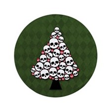 "Holiday Skull Tree 3.5"" Button"