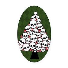Holiday Skull Tree Oval Car Magnet