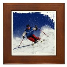 Skiing Down the Mountain Revised with  Framed Tile