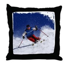 Skiing Down the Mountain Revised with Throw Pillow