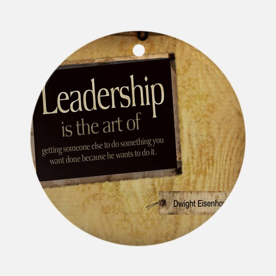 Leadership Quote on Tile Coaster, K Round Ornament