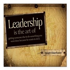 "Leadership Quote on Tile Square Car Magnet 3"" x 3"""