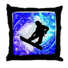 Snowboarder in Whiteout Throw Pillow