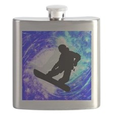 Snowboarder in Whiteout Flask