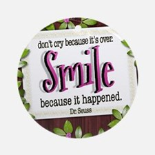 Smile Quote on Tile Coaster, Keepsa Round Ornament