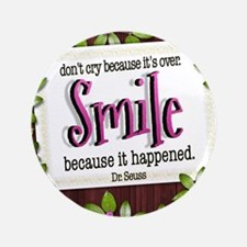 "Smile Quote on Tile Coaster, Keepsake  3.5"" Button"