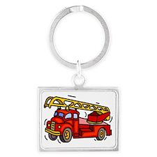 Fire Truck Landscape Keychain