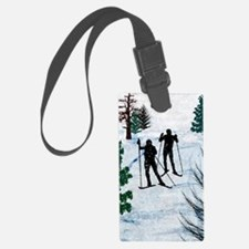 Two Cross Country Skiers in Snow Luggage Tag