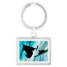 Snowmobiling on Icy Trails 2 Landscape Keychain