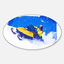 Yellow Snowmobile in Blizzard Edges Decal