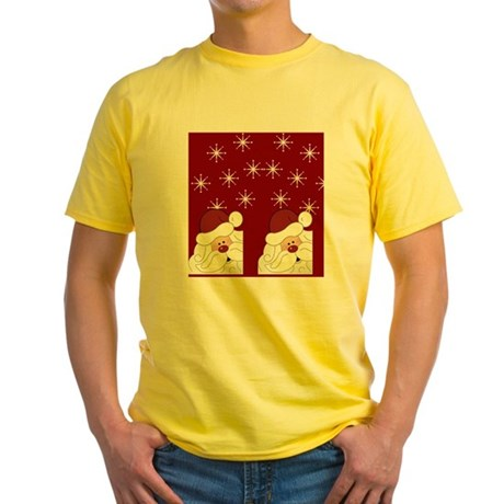 Santa Claus Holiday Christmas Flip Yellow T-Shirt