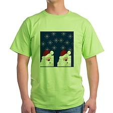 Santa Claus Holiday Flip Flops Blue T-Shirt