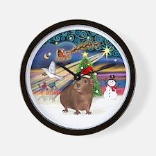R-XmasMagic-GuineaPig3-HAT Wall Clock