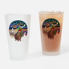 R-XmasMagic-GuineaPig3-HAT Drinking Glass