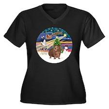 R-XmasMagic- Women's Plus Size Dark V-Neck T-Shirt