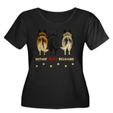 Belgians Women's Plus Size Dark Scoop Neck T-Shirt