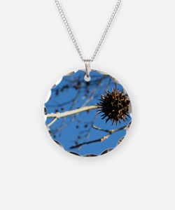 Single hanging sweetgum Necklace