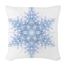 Snowflake Designs - 023 - tran Woven Throw Pillow